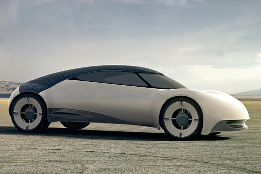 Concept solar powered car, features a dimpled roof to reduce drag and boosts car efficiency 01