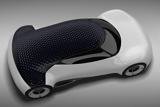 Concept solar powered car, features a dimpled roof to reduce drag and boosts car efficiency 02